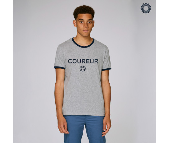 SillyScreens Casual wieler T-shirt Heren medium fit Zwart Zwart / COUREUR, Heren wieler T-shirt met boord,  Heather Grey