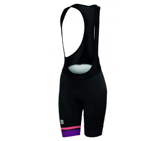 Sportful Fietsbroek Dames Zwart Coral / SF Diva W Bibshort Black/Coral Fl/Bordeaux