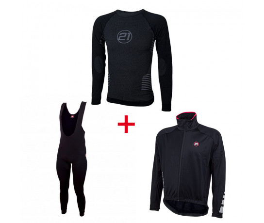 21Virages Winter/Windstop set : Winterjack + Lange broek + lange mouwen zweethemd