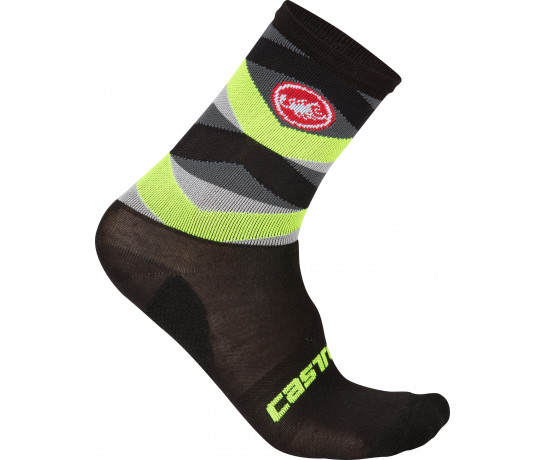 Castelli Fietssokken winter Heren Zwart Fluo / CA Fatto 12 Sock Black/Yellow Fluo