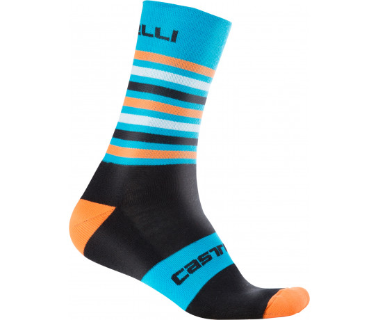 Castelli Fietssokken winter Heren Zwart Oranje / CA Gregge 15 Sock Black/Orange Fluo