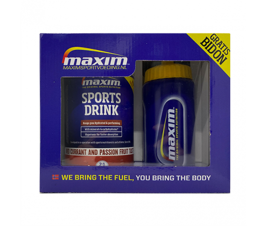 MAXIM SPORTS DRINK RED CURRANT AND PASSION FRUIT TASTE 480G + GRATIS 500ML BIDON