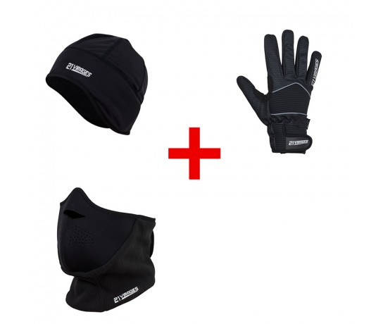 Helmmuts 21Virages + Fietshandschoen winter windstop RACE + Facemask 21Virages