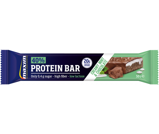 Maxim 40% Protein Bar Creamy Mint & Chocolate 50g. UIT ASSORTIMENT