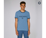SillyScreens Casual wieler T-shirt Heren medium fit Blauw Blauw / FIETSER, Heren wieler T-shirt met boord, Mid Heather Blue
