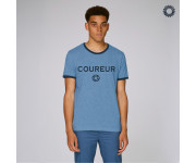 SillyScreens Casual wieler T-shirt Heren medium fit Blauw Blauw / COUREUR, Heren wieler T-shirt met boord, Mid Heather Blue
