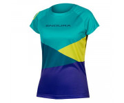 Endura Fietsshirt korte mouwen Dames Kingfisher / Dames SingleTrack Core Print T-shirt - Kingfisher