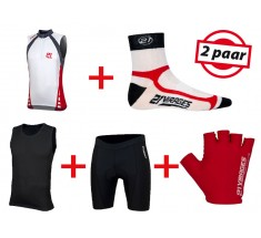 Fietskleding Zomerset 21Virages mouwloos wit rood