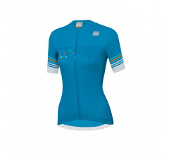 Sportful Fietsshirt Korte mouwen voor Dames Blauw Wit - SF Sticker W Jersey-Blue A Methyl Blue Wh