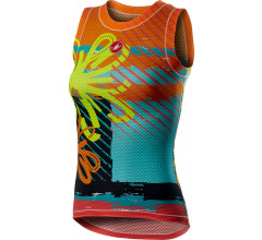 Castelli Ondershirt Dames Fluo - CA Pro Mesh W Sleeveless Yellow Fluo Flower