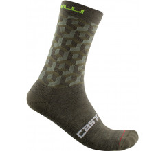 Castelli Fietssokken winter Unisex Groen - Cubi 18 Sock Military Green