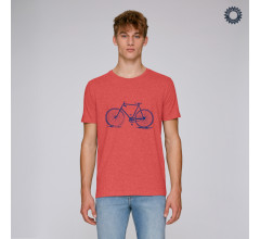SillyScreens Casual wieler T-shirt heren medium fit Rood  / CROSSRACER, Heren wieler T-shirt, Mid Heather Red
