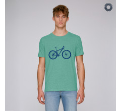 SillyScreens Casual wieler T-shirt heren medium fit Groen  / MOUNTAINBIKE, Heren wieler T-shirt, Mid Heather Green