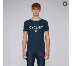SillyScreens Casual wieler T-shirt Heren medium fit Blauw Blauw / CYCLIST, Heren wieler T-shirt met boord, Navy