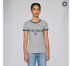 SillyScreens Casual wieler T-shirt Dames medium fit Grijs Blauw / FIETSER, Dames wieler T-shirt met boord, Heather Grey