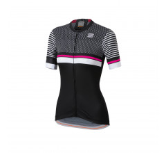 Sportful Fietsshirt korte mouwen Dames Zwart Wit / SF Diva 2 Jersey-Black/White/Bubble