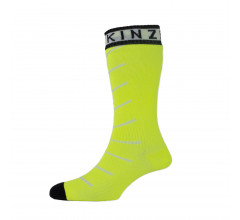 Sealskinz Fietssokken Fluo Zwart / SS Super Thin Pro Mid sock with Hydrostop-Neon Yellow/White/Black
