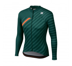 Sportful Fietsshirt lange mouwen Heren Groen Groen Oranje / Bodyfit Team Winter Jersey-Sea Moss/Green/Orange Sdr