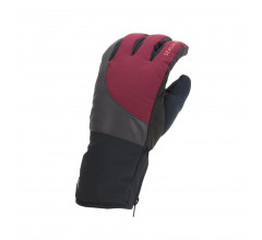 Sealskinz Fietshandschoenen waterdicht voor Heren Zwart Rood / Waterproof Cold Weather Reflective Cycle Glove Black/Red