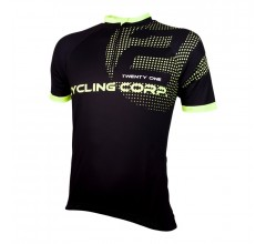 Wielershirt 21Virages Cycling Corp Zwart Fluo Geel