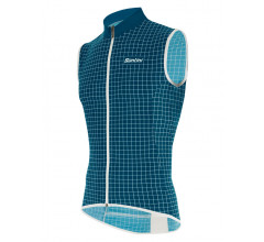 Santini Windstopper mouwloos Petrol Heren - Nebula Windproof And Rain Resistant Skin Vest Petrol Green