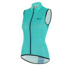Santini Windstopper mouwloos Blauw Dames - Nebula Windproof/Rain Resistant Skin Vest For Women Acqua Blue