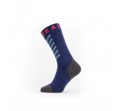 Sealskinz Fietssokken waterdicht voor Heren Blauw Grijs / Waterproof Warm Weather Mid Length Sock with Hydrostop Navy Blue/Grey/Red