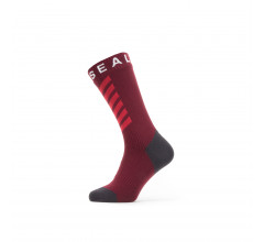 Sealskinz Fietssokken waterdicht voor Heren Rood Grijs / Waterproof Warm Weather Mid Length Sock with Hydrostop Red/Grey/White