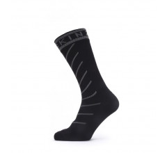 Sealskinz Fietssokken waterdicht voor Heren Zwart Grijs / Waterproof Warm Weather Mid Length Sock with Hydrostop Black/Grey