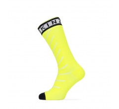 Sealskinz Fietssokken waterdicht voor Heren Fluo Zwart / Waterproof Warm Weather Mid Length Sock with Hydrostop Yellow/Black/White