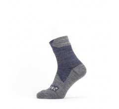 Sealskinz Fietssokken waterdicht voor Heren Blauw Grijs / Waterproof All Weather Ankle Length Sock Navy Blue/Grey Marl