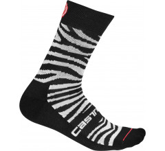 Castelli Fietssokken winter voor Dames Zwart Wit / CA Safari 15 Sock Zebra Black/White