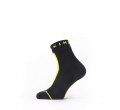 Sealskinz Fietssokken waterdicht voor Heren Zwart Fluo / Waterproof All Weather Ankle Length Sock with Hydrostop Black/Neon Yellow