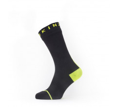 Sealskinz Fietssokken waterdicht voor Heren Zwart Fluo / Waterproof All Weather Mid Length Sock with Hydrostop Black/Neon Yellow