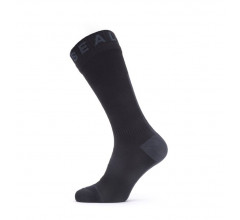 Sealskinz Fietssokken waterdicht voor Heren Zwart Grijs / Waterproof All Weather Mid Length Sock with Hydrostop Black/Grey