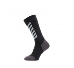 Sealskinz Fietssokken waterdicht voor Heren Zwart Grijs / Waterproof All Weather Mid Length Sock with Hydrostop Black/Grey/White