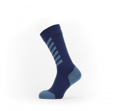 Sealskinz Fietssokken waterdicht voor Heren Blauw Rood / Waterproof Cold Weather Mid Length Sock with Hydrostop Navy Blue/Red
