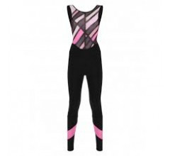 Santini Fietsbroek lang met bretels Roze Dames - Coral Raggio Bib-Tights For Women Granatina