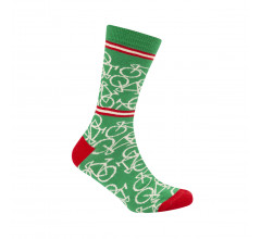 Le Patron Casual sokken Groen Ecru / Bicycle socks italian green