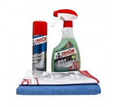 Cyclon Instant Polish Wax 250ml + Cyclon Bike Cleaner Triggerspray 550ml + Reinigingsdoek