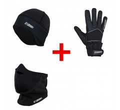 Fietshandschoen winter windstop RACE + Helmmuts windprotect + Facemask 21Virages