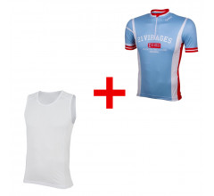 Wielershirt 21 Virages retro blauw + GRATIS Zweethemd 21Virages mesh