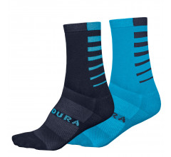 Endura Fietssokken Zomer Unisex Blauw - Coolmax� Stripe Socks Twin Pack Electric Blue