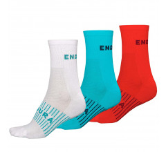 Endura Fietssokken zomer 3 pack Dames Blauw Wit en Roze - Dames Coolmax Race Sok (Triple-Pack) Blue White Pink