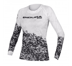 Endura Wielershirt MTB Lange Mouwen voor Dames Wit Zwart / Women's MT500 Marble L/S T LTD White