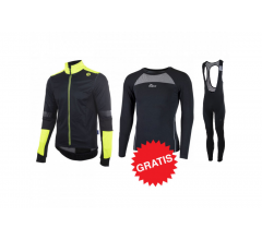 Rogelli winter fietskledingset Force Focus zwart fluo