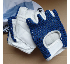 Retro Cycling fietshandschoenen zomer Blauw - Vintage style leather Cycling gloves