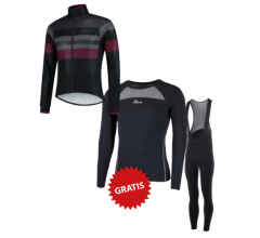 Rogelli fietskleding set winter heren Peak Nero Zwart Bordeaux