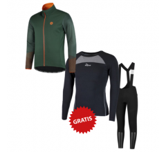 Rogelli fietskleding set winter heren Wire Halo Groen Oranje