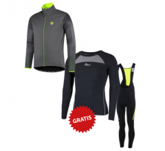 Rogelli fietskleding set winter heren Wire Stealth Grijs Fluo